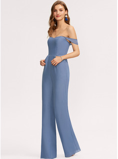 Jumpsuit/Pantsuit Off-the-Shoulder Floor-Length Chiffon Bridesmaid Dress With Pockets