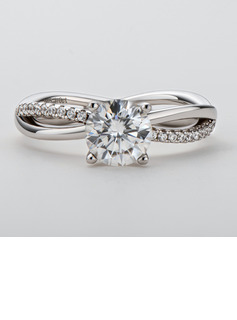 Twist Round Cut 925 Silver Engagement Rings