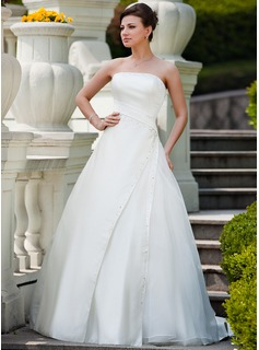 Ball-Gown Strapless Court Train Satin Organza Wedding Dress With Ruffle Beading Sequins