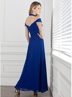 A-Line/Princess Halter Ankle-Length Chiffon Evening Dress With Ruffle
