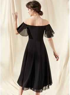 A-Line Off-the-Shoulder Asymmetrical Chiffon Cocktail Dress With Cascading Ruffles