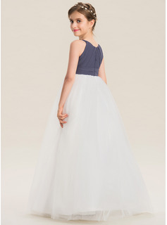 A-Line Scoop Neck Floor-Length Chiffon Tulle Junior Bridesmaid Dress With Ruffle