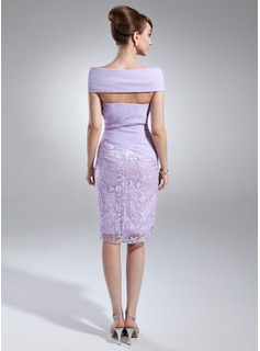 Sheath/Column Off-the-Shoulder Knee-Length Chiffon Lace Mother of the Bride Dress With Beading Cascading Ruffles
