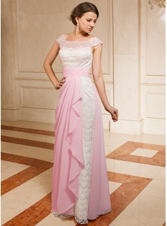 A-Line/Princess Off-the-Shoulder Floor-Length Chiffon Lace Mother of the Bride Dress With Ruffle Beading Cascading Ruffles