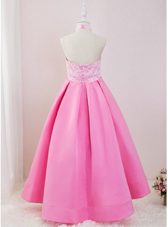 Ball-Gown/Princess Asymmetrical Flower Girl Dress - Satin/Lace Sleeveless Halter