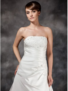 A-Line/Princess Strapless Court Train Satin Wedding Dress With Ruffle Beading