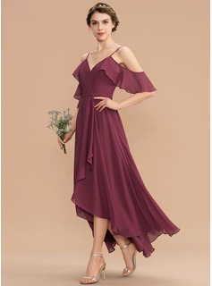 faux-wrap pleated chiffon bridesmaid dress