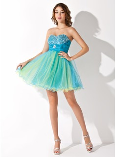 Empire Sweetheart Short/Mini Tulle Homecoming Dress With Ruffle Beading Sequins