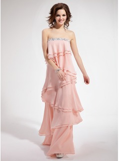 A-Line/Princess Strapless Floor-Length Chiffon Prom Dresses With Beading Cascading Ruffles