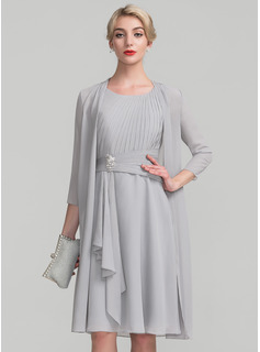 A-Line Scoop Neck Knee-Length Chiffon Mother of the Bride Dress With Beading Cascading Ruffles