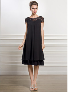 Empire Scoop Neck Knee-Length Chiffon Mother of the Bride Dress