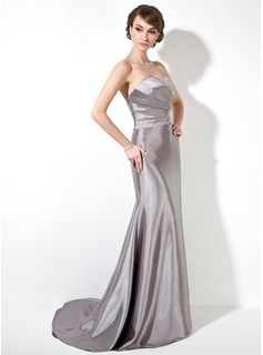 Trumpet/Mermaid Strapless Sweep Train Charmeuse Prom Dresses With Ruffle Beading Sequins