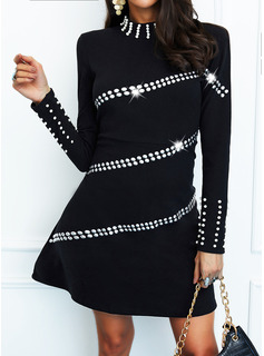Sequins Solid Beaded Sheath High Neck Long Sleeves Midi Casual Dresses