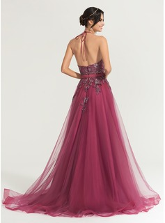 A-Line/Princess Halter Sweep Train Tulle Prom Dresses With Sequins