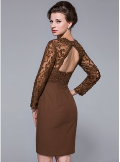 Sheath/Column Sweetheart Knee-Length Chiffon Lace Mother of the Bride Dress With Beading Sequins