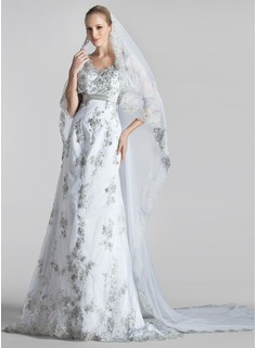 A-Line/Princess V-neck Court Train Tulle Wedding Dress With Beading Appliques Lace Sequins Bow(s)