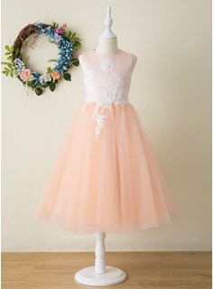 Tea-length Flower Girl Dress - Satin Tulle Sleeveless Scoop Neck With Appliques