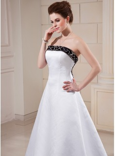 A-Line/Princess Strapless Court Train Satin Wedding Dress With Sash Beading