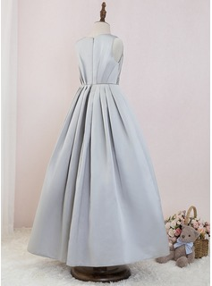 Ball-Gown/Princess Ankle-length Flower Girl Dress - Satin Sleeveless Scoop Neck With Beading
