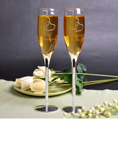 Groom Gifts - Personalized Glass Zinc Alloy Champagne Flutes (Set of 2)