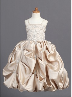 Ball Gown Floor-length Flower Girl Dress - Satin Sleeveless Straps With Embroidered/Beading/Pick Up Skirt