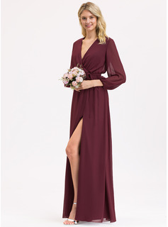 V-neck Floor-Length Chiffon Bridesmaid Dress With Ruffle Bow(s) Split Front