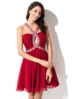 A-Line/Princess Sweetheart Short/Mini Chiffon Homecoming Dress With Ruffle Beading Sequins