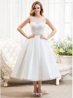 Ball-Gown Scoop Neck Tea-Length Tulle Lace Wedding Dress With Beading Sequins