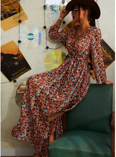 Floral Print A-line V-Neck Long Sleeves Midi Casual Vacation Skater Wrap Dresses