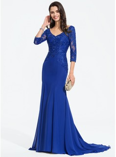 Trumpet/Mermaid V-neck Sweep Train Chiffon Prom Dresses With Sequins
