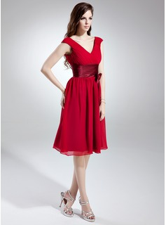 red tea length bridesmaid dresses