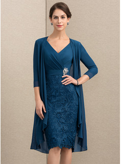 Sheath/Column V-neck Knee-Length Chiffon Lace Mother of the Bride Dress