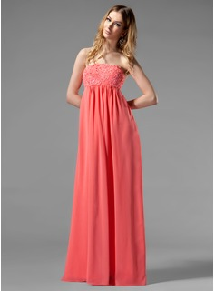 Empire Strapless Floor-Length Chiffon Holiday Dress With Ruffle Beading Appliques Lace