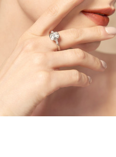Three Stone Emerald Cut 925 Silver Engagement Rings