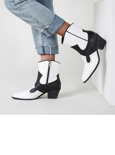 Women's Leatherette Chunky Heel Ankle Boots Pointed Toe With Zipper Splice Color shoes