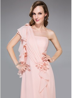 A-Line/Princess One-Shoulder Watteau Train Chiffon Holiday Dress With Beading Flower(s) Cascading Ruffles