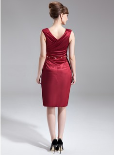 Sheath/Column V-neck Knee-Length Charmeuse Mother of the Bride Dress With Beading Sequins Cascading Ruffles