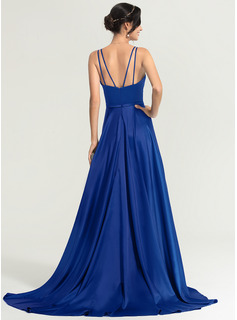 A-Line/Princess V-neck Sweep Train Satin Evening Dress With Split Front