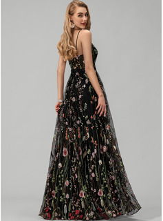 A-Line V-neck Floor-Length Lace Prom Dresses With Beading