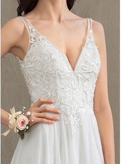 A-Line V-neck Sweep Train Chiffon Wedding Dress With Beading Sequins Split Front