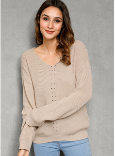 Cable-knit Chunky knit Solid Polyester V-neck Pullovers Sweaters