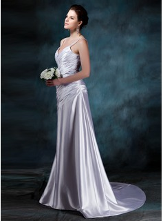 A-Line/Princess V-neck Court Train Charmeuse Wedding Dress With Ruffle
