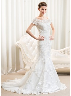 Trumpet/Mermaid Off-the-Shoulder Court Train Tulle Lace Wedding Dress
