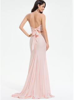 red high neck prom dress