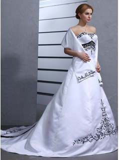 Ball-Gown Sweetheart Chapel Train Satin Wedding Dress