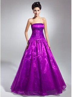 Ball-Gown Strapless Floor-Length Organza Quinceanera Dress With Ruffle