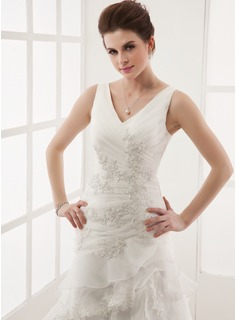 A-Line/Princess V-neck Court Train Organza Wedding Dress With Beading Appliques Lace Cascading Ruffles