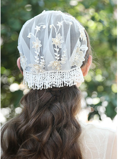 One-tier Pencil Edge Birdcage Veils With Embroidery/Beading