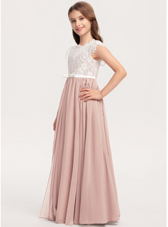 Scoop Neck Floor-Length Chiffon Lace Junior Bridesmaid Dress With Bow(s)