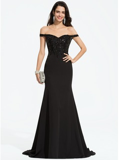 Trumpet/Mermaid Off-the-Shoulder Sweep Train Stretch Crepe Prom Dresses With Sequins